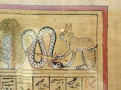 The sun god Re (in an unusual manifestation) killing the snake-demon Apep (Apophis) Detail from the Book of the Dead of the royal scribe Hunefer (ca. 1300 BC), a papyrus scroll which is kept in the British Museum, London.