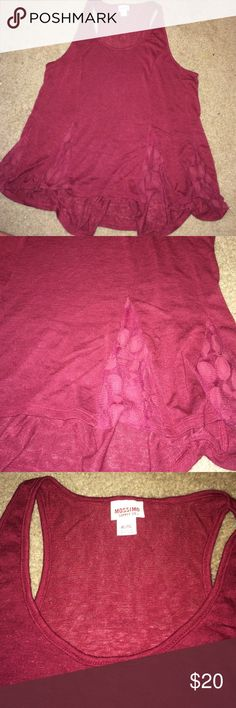 MAROON TANK WITH LACE ON BOTTOM Great condition. Barely worn! No rips in lace! Lace is see thru. Mossimo Supply Co Tops Tank Tops