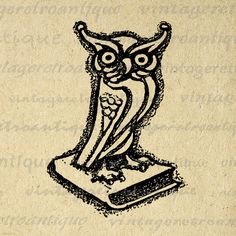 Owl on Book Digital Printable Download Illustration Image Graphic Vintage Clip Art Jpg Png Eps 18x18 HQ 300dpi No.1557 @ vintageretroantique.etsy.com #DigitalArt #Printable #Art #VintageRetroAntique #Digital #Clipart #Download