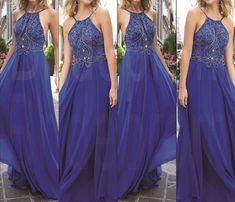 Royal Blue Long Prom Dresses, Straps Prom Gowns,Beaded Evening Dresses, Backless Evening Gowns, Cocktail Dresses Custom,PD160194