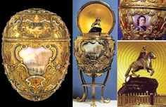 """Peter The Great Faberge Egg's surprise is that when the egg is opened, a mechanism within raises a miniature gold model of Peter the Great's monument on the Neva, resting on a base of sapphire. The model was made by Gerogii Malychevin. The reason for this choice of surprise is the story of a legend from the 19th century that says enemy forces will never take St. Petersburg while the """"Bronze Horseman"""" stands in the middle of the city."""