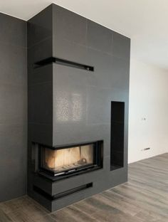 Kominek nowoczesny - model n143 - Kominki GP Corner Gas Fireplace, Modern Fireplace, Living Room With Fireplace, Fireplace Design, Modern Tv Room, Tv Wall Design, Drywall, Fireplaces, Home Interior Design
