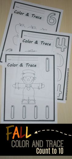 FREE Fall Color and Trace Count to 10 - such a fun way for kids to practice writing numbers and count while coloring fall pictures. Perfect for preschool, prek, and kindergarten. Numbers Kindergarten, Numbers Preschool, Fall Preschool, Kindergarten Lesson Plans, Learning Numbers, Preschool At Home, Preschool Lessons, Kindergarten Activities, Toddler Preschool