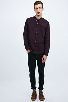 Shore Leave by Urban Outfitters Melange Oxford Shirt in Burgundy
