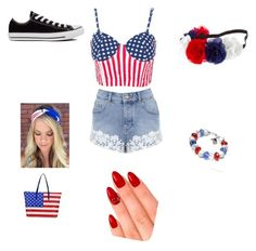 """""""4th of July outfit"""" by wildlife5000 ❤ liked on Polyvore featuring Miss Selfridge, Converse and eylure"""