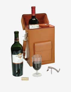 Royce Leather Connoisseur Wine Carrier - Bonded Leather | Stage Stores . . . . (Want for my picnic basket).