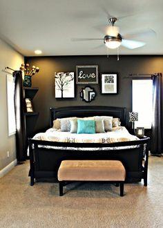 schlafzimmerwand gestalten wandgestaltung dunkle farben bilder