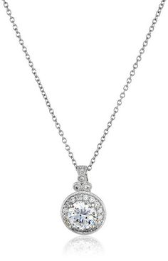 Platinum-Plated Sterling Silver and Swarovski Zirconia Round-Cut Antique Pendant Necklace, 18""