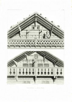 """Authentic lithograph taken from the """"Architecture Suisse Constructions Rustiques"""". Collection of 50 copper engravings displaying traditional Swiss Chalets architectural sty. Plan Chalet, German Houses, Chalet Interior, Alpine Style, Swiss Chalet, Old Mansions, Vernacular Architecture, A Frame House, Architectural Prints"""