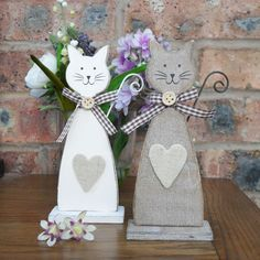 Cute rustic wooden cats
