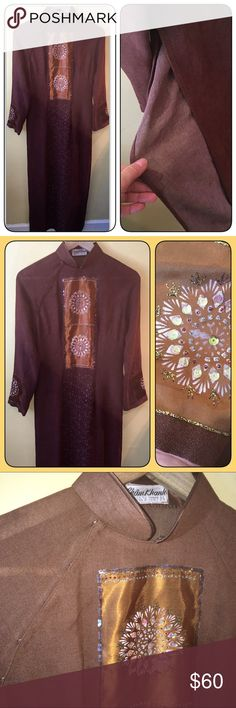 """Gorgeous Vietnamese Tunic   Size Small 🌞🌞Bundles always 1/2 off EVERYDAY! Stunning Asian Long Áo Dài (Full Length) Tunic/Dress To be worn over pants Size: no size listed -- Small Bust: 19"""" flat across Waist: 17"""" flat across  Length: 54"""" Silk Blend/Lined ** beautiful sequin/bling detail Perfect for the Holidays, or would make a great addition to your Halloween costume.  Lined In perfect condition!  ✨✨✨BUNDLE and SAVE 1/2 off! Peace ✌🏼️ Love ❤️ POSH 🌻🌻🌻 Boutique Other"""