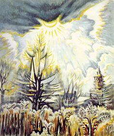 Charles Burchfield, November Sun Emerging. 1956-59