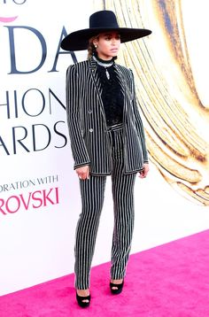 Beyonce stunned in a Givenchy Couture pantsuit at the CFDA Fashion Awards! See other pics from the event!