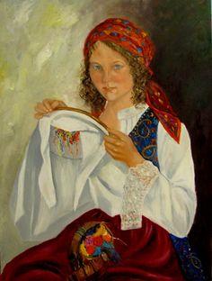 Krystyna-Ruminkiewicz - Hafciarka.80x60,olej