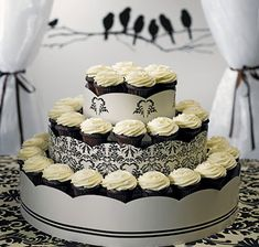 Display your wedding cupcakes on this 3 tier grand display wedding cupcake tower with detailed love bird damask design. Holds 45 to 75 cupcakes. Cupcake Tower Wedding, Wedding Cakes With Cupcakes, Cupcake Cakes, Cup Cakes, Cupcake Ideas, White Cupcakes, Simple Cupcakes, Cupcake Tree, Macaron Cake