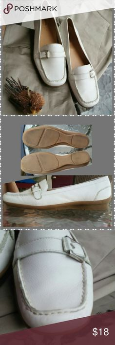 Easy Spirit Casual Flat Leather Loafers Great for every day! Supple white leather with silver side buckle ornamentation. Extra cushion on heel. Breathable sock liner. Extra flexible outsole. Small areas of wear (see pix) but still in very good condition. Easy Spirit Shoes Flats & Loafers