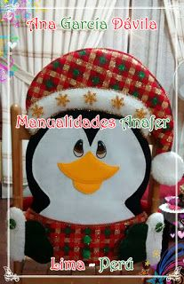 Manualidades Anafer: Cubresillas Navideños Table Runners, Snowman, Christmas Crafts, Crochet, Covers For Chairs, Penguin, Holiday Decorating, Embellishments, Scrappy Quilts