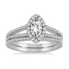 7/8 CT MARQUISE CUT DIAMOND BRIDAL SET ENGAGEMENT BRIDAL JEWELRY 14K WHITE GOLD #Jewelsbyeanda
