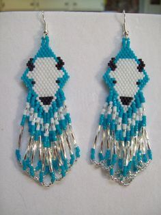 Native American Beaded White Buffalo Earring by BeadedCreationsetc, $25.00