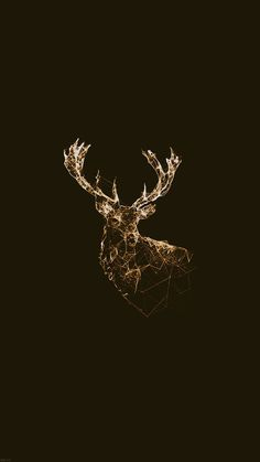 Golden Deer Polygon Illustration iPhone 6 Wallpaper