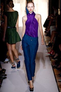 floraspice: Anabela Belikova at Yves Saint, love the purple top!