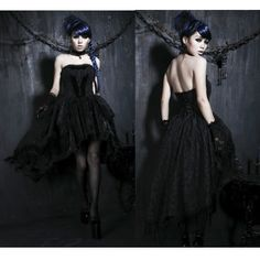 Victorian Gothic Strapless Flamenco Wedding Cocktail Party Dresses SKU-11402212