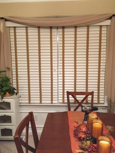 Faux wood horizontal blinds with decorative beige tape - Budget Blinds of Smithtown Horizontal Blinds, Budget Blinds, Custom Blinds, Custom Window Treatments, Window Coverings, Budgeting, Tape, Windows, Curtains