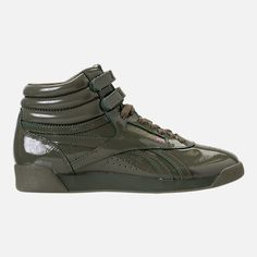 695f1fc2606 Right view of Women s Reebok Freestyle Hi Patent Casual Shoes in Hunter  Green Reebok Freestyle
