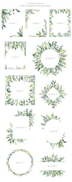 Watercolor Greenery Frames Borders PNG Clipart Green Leaves Branches Clip Art Aquarelle Arrangements Bright Foliage Free Commercial Use - interior decor - Watercolor Clipart, Watercolor Border, Watercolor Leaves, Watercolor Cards, Watercolor Illustration, Simple Watercolor, Tattoo Watercolor, Watercolor Animals, Watercolor Background