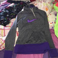 nike jacket purple and gray with hoodie(-; Nike Jackets & Coats