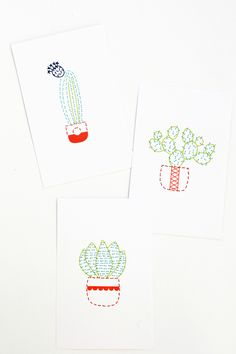 Stitched Cactus Art | For The MakersHow cute are these stitched cacti?! These are super simple to stitch, so even if you are a beginner you can't go wrong. You could even stitch these on a baby's onesie, decorate a pilowcase or napkins (perfect for taco night!)