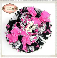 OTT Over the Top Boutique Hair Bow Valentine Skull Black Pink Stacked