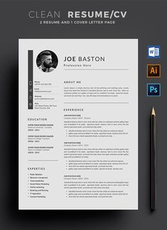 Template / with super clean and look. Clean Resume Template page designs are easy to use and so you can quickly tailor-make your resume for any…More Modern Resume Template, Resume Design Template, Resume Templates, Resume Layout, Resume Cv, Cv Photoshop, Photoshop Illustrator, Creation Cv, Cv Inspiration