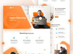 Today my challenge Digital Marketing agency Landing Page . I hope you& like it. I invite you all to rebound this shot and create your own visual exercise. Available For Hire Full-time position . Ecommerce Web Design, Web Ui Design, Digital Web, Landing Page Design, Rebounding, Creative Design, Digital Marketing, Positivity, Website