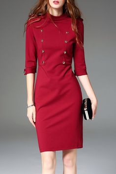 Shop Mini Dresses - Wine Red Half Sleeve Polyester Stand Collar Buttoned Mini…