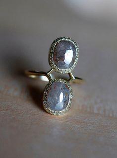 Rose Cut Diamond Ring Cushion Engagement Ring Modern by MinimalVS