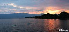 Beautiful sunset by the Ohrid Lake in Struga