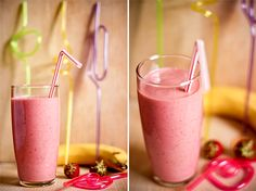 Banana strawberry smoothie | Banánovo-jahodové smoothie « Tina