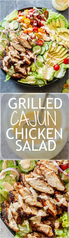 Grilled Cajun Chicken Salad with Creamy Cajun Dressing – Cafe Delites A Cajun Chicken Salad with a homemade Cajun spice seasoning and the most incredible creamy cajun dressing to put out the fire (so to speak)! Healthy Recipes, Healthy Salads, Salad Recipes, Healthy Eating, Cooking Recipes, Juicer Recipes, Fast Recipes, Easy Salads, Cajun Dressing Recipe