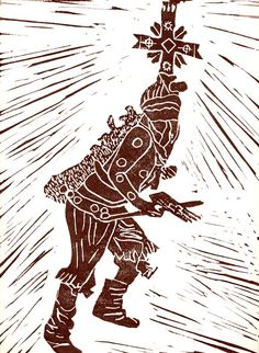 Etching of a Apache Crown dancer- also called a Spirit or Mountain Spirit dancer- unique to their tribe