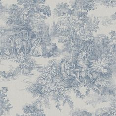 A Vintage Book 1665 Non-Woven Wallpaper Galantes Toile de Jouy Blue Motif on flax Borastapeter Toile Wallpaper, Bird Wallpaper, Wallpaper Online, Scandinavian Wallpaper, Scandinavian Design, Interior Design Programs, Fabric Rug, Background Pictures, Colors