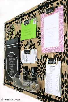 Get organized with this DIY burlap covered cork board - post includes the step by step tutorial!
