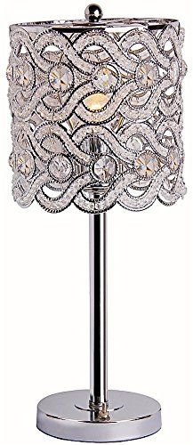 Park Madison Lighting Contemporary Crystal Table Lamp with Polished Chrome Finish and Hand Crafted Shade, Tall 60 Inch Vanity, Buffet Lamps, Table Lamps, 49er, Bedroom Lamps, Master Bedroom, Chandelier Lighting, Chandeliers, Chrome Finish