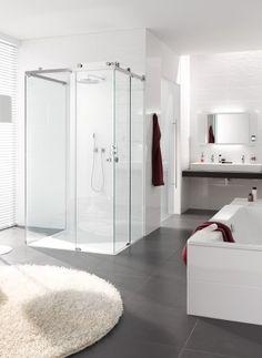 shower enclosure with doors sliding off corner allow larger opening on the diagonal ... especially like the indirect lighting coming from behind the vanity mirror... from http://www.specialtybathhardware.com/shower-systems/ ... claro style