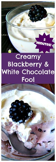 5 Minute Creamy Blackberry and White Chocolate Fool. Incredibly easy recipe and great for serving after a BBQ or when you have a crowd. You can make 1 or 100 portions. It's very versatile to suit.