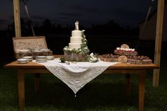Rustic, Farm Table, Cupcakes, Wedding Cake, Wood Cookies, Lace, Succulents; Southern Wedding, Fall Wedding, Rustic Wedding, Farm Wedding; Oak Level Farm