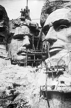 1927-1941 | The majority of the mountain was carved during the Great Depression. For 14 years, 400 men used dynamite, jackhammers and hand tools to blast, chisel and carve the faces of four American presidents.  In March of 1941, Gutzon Borglum unexpectedly died, leaving his son, Lincoln, to finish the final details of the memorial. However, with the country's impending involvement in WWII, federal funding was pulled and Mount Rushmore was declared complete on October 31, 1941.