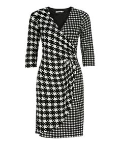 Classic Wrap Houndstooth DressClassic Wrap Houndstooth Dress, White/Black