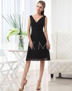 Simple Natural Spring waist Knee-Length Bridesmaid Dress