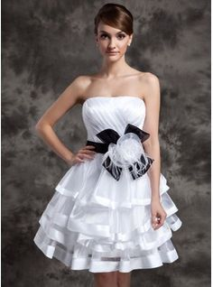 A-Line/Princess Strapless Knee-Length Organza Charmeuse Cocktail Dress With Sash Feather Flower(s) Bow(s) Cascading Ruffles